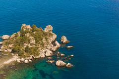 Italy: Aerial view of island and Isola Bella Stock Photos