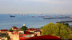 View of  Sea of Marmara and ships standing on raid. Istanbul, Turkey - stock footage