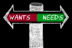 Opposite arrows with Wants versus Needs - stock illustration