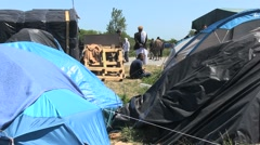 Migrants in calais. Camp. Tent. Stock Footage