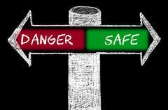 Opposite arrows with Danger versus Safe Stock Illustration