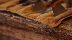 Luthier tools tilt shot Stock Footage
