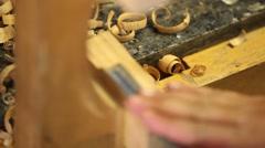 Wood carving rack focus Stock Footage