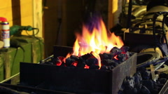 Bright flame of fire burns in an old fireplace Stock Footage