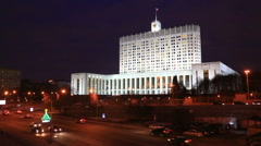 Moscow, Government house of the Russian Federation at night Stock Footage