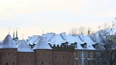 Ancient architecture of Warsaw in winter day, Poland Stock Footage