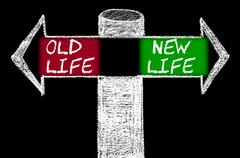 Opposite arrows with Old Life versus New Life. - stock illustration