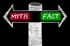 Opposite arrows with Myth versus Fact. - stock illustration