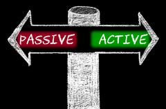 Opposite arrows with Passive versus Active. - stock illustration