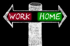Opposite arrows with Work versus Home - stock illustration