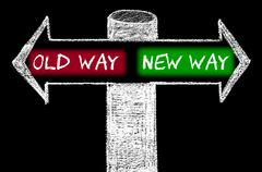 Opposite arrows with Old Way versus New Way - stock illustration