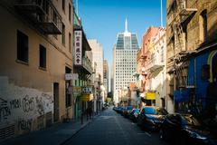 Stock Photo of Commercial Street, in Chinatown, San Francisco, California.