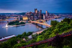 Evening view of Pittsburgh from the top of the Duquesne Incline in Mount Wash - stock photo