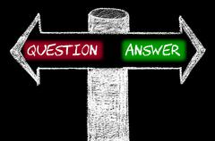 Opposite arrows with Question versus Answer - stock illustration