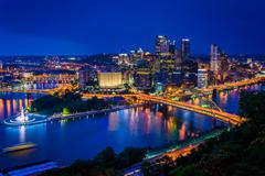 Night view of Pittsburgh from the top of the Duquesne Incline in Mount Washin - stock photo
