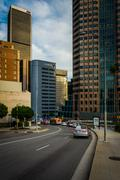 Skyscrapers in the Financial District, in downtown Los Angeles, California. - stock photo