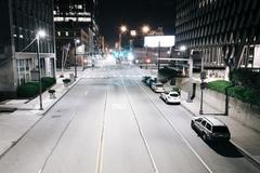 View of Boulevard of the Allies at night, in Pittsburgh, Pennsylvania. Stock Photos