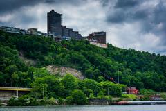 View of Duquesne Incline and Mount Washington from Point State Park, in Pitts - stock photo