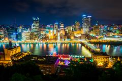 View of Pittsburgh at night from Grandview Avenue in Mount Washington, Pittsb Stock Photos