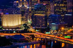 View of buildings in downtown Pittsburgh from the top of the Duquesne Incline Stock Photos