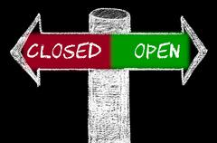 Opposite arrows with Closed versus Open Stock Illustration