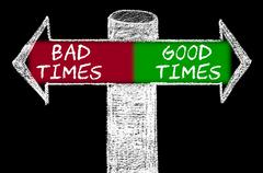 Opposite arrows with Bad Times versus Good Times - stock illustration