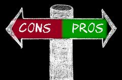 Opposite arrows with Pros versus Cons Stock Illustration