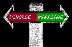 Opposite arrows with Divorce versus Marriage - stock illustration