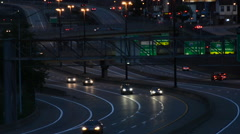 Traffic on I-279 at night, in Pittsburgh, Pennsylvania. - stock footage