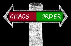 Opposite arrows with Chaos versus Order Stock Illustration