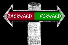 Opposite arrows with Backward versus Forward - stock illustration