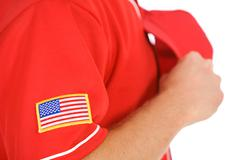 Stock Photo of Baseball: Focus on USA Flag Patch