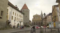 SWITZERLAND Yverdon city center, castel, Pestalozzi place and temple Stock Footage