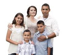 Happy Attractive Hispanic Family Portrait Isolated on a White Background. - stock photo