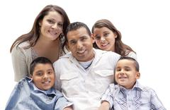 Happy Attractive Hispanic Family Portrait Isolated on a White Background. Stock Photos