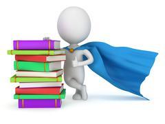 Stock Illustration of Brave superhero student with blue cloak