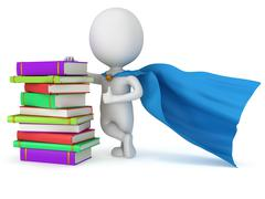 Brave superhero student with blue cloak - stock illustration