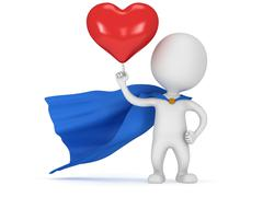 Stock Illustration of Brave superhero lover with big red heart
