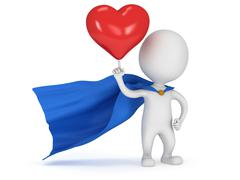 Brave superhero lover with big red heart - stock illustration