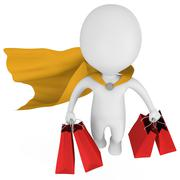 Brave superhero shopper with yellow cloak - stock illustration