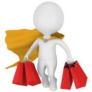 Brave superhero shopper with yellow cloak Stock Illustration