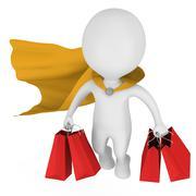 Stock Illustration of Brave superhero shopper with yellow cloak