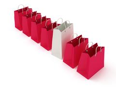 Stock Illustration of White shopping bag in a row of crimson bags