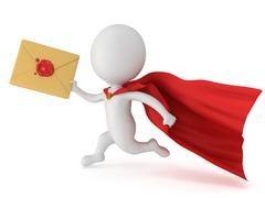 Stock Illustration of 3d man brave superhero and mail envelope