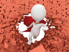 3d brave superhero with red cloak flying - stock illustration