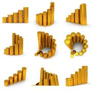 3d set of schedule of golden coins on white Stock Illustration