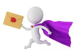 Stock Illustration of Brave superhero postman with envelope