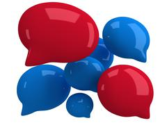 Stock Illustration of Group of 3d blank speech bubbles