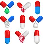 Stock Illustration of Set of open and close pill capsule. 3D.