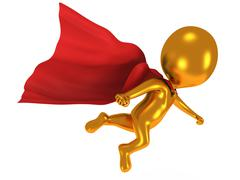 3d brave superhero with red cloak flying above - stock illustration